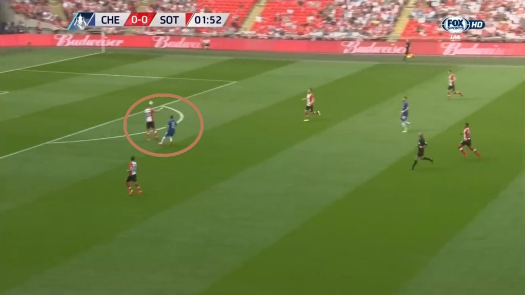 Fabregas' long pass couldn't be accurately delivered to Hazard. He lost possession being outnumbered.