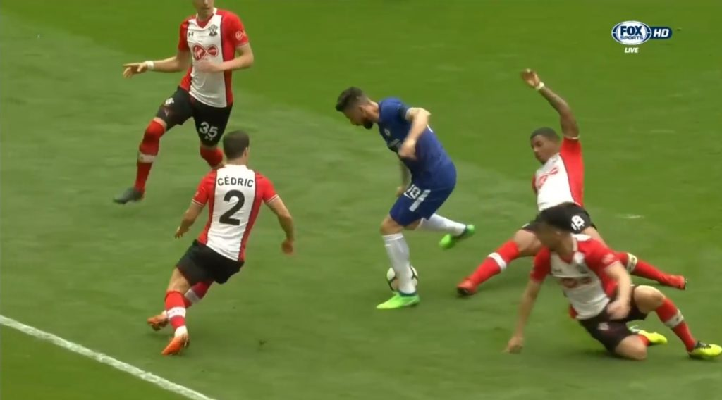 Giroud dribbled past the bunch of defenders and finished past McCarthy.