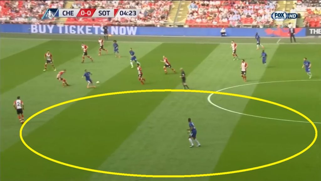 Southampton were concentrated at their left which freed up space for Chelsea at the either side.