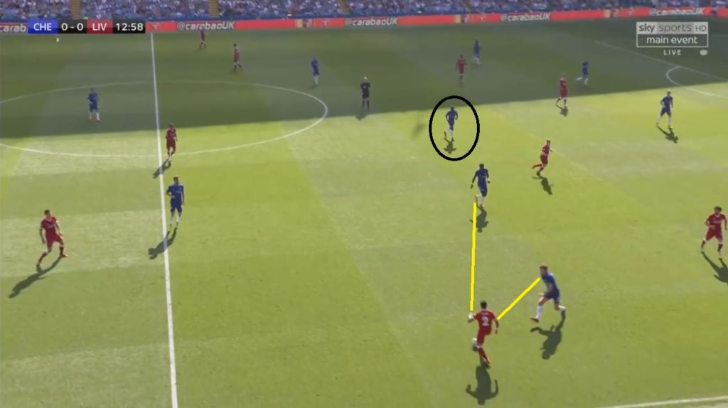 Rudiger and Alonso pressing the fullback Clyne while Kante remained at the deep CM to stop any switch play.
